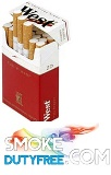 West Red King Size Box cigarettes made in Germany. 1 carton, 10 packs. Free shipping!